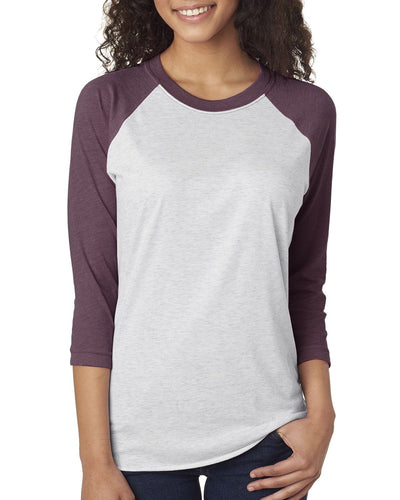 Next Level Unisex Triblend 3/4 Sleeve Raglan 6051 VIN PUR/ HTR WHT