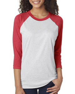 Next Level Unisex Triblend 3/4 Sleeve Raglan 6051 VIN RD/ HTHR WHT
