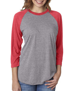 Next Level Unisex Triblend 3/4 Sleeve Raglan 6051 VIN RED/ PR HTHR