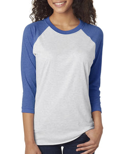 Next Level Unisex Triblend 3/4 Sleeve Raglan 6051 VIN RYL/ HTR WHT