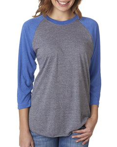 Next Level Unisex Triblend 3/4 Sleeve Raglan 6051 VINT RYL/ PR HTR