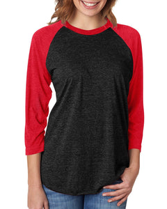 Next Level Unisex Triblend 3/4 Sleeve Raglan 6051 VIN RED/ VIN BLK