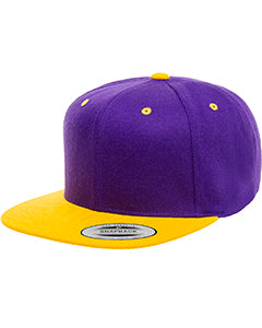 Yupoong Adult 6-Panel Structured Flat Visor Classic Snapback 6089 PURPLE/ GOLD