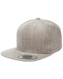 Yupoong Adult 6-Panel Structured Flat Visor Classic Snapback 6089 HEATHER GREY