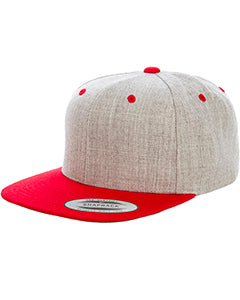 Yupoong Adult 6-Panel Structured Flat Visor Classic Two Tone Snapback 6089MT HEATHER/ RED