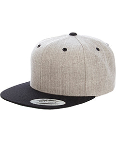 Yupoong Adult 6-Panel Structured Flat Visor Classic Two Tone Snapback 6089MT HEATHER/ BLACK