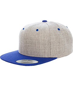 Yupoong Adult 6-Panel Structured Flat Visor Classic Two Tone Snapback 6089MT HEATHER/ ROYAL
