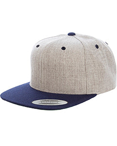 Yupoong Adult 6-Panel Structured Flat Visor Classic Two Tone Snapback 6089MT HEATHER/ NAVY
