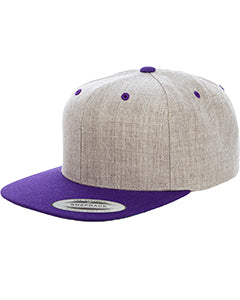 Yupoong Adult 6-Panel Structured Flat Visor Classic Two Tone Snapback 6089MT HEATHER/ PURPLE