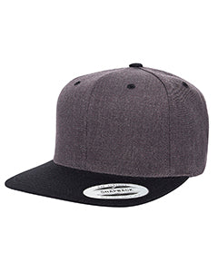 Yupoong Adult 6-Panel Structured Flat Visor Classic Two-Tone Snapback 6089MT DRK HTHR/ BLACK