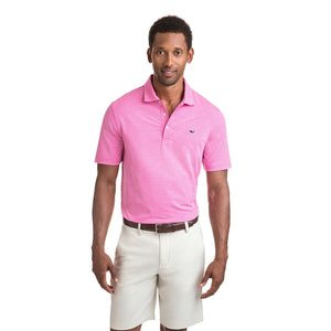 Vineyard Vines Men's Heathered Wilson Stripe Sankaty Performance Polo 1K2202 Sweet Taffy