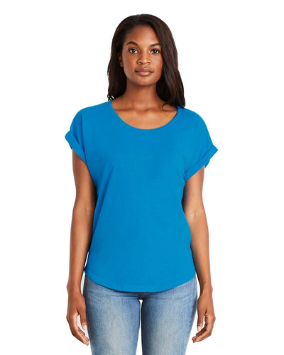Next Level Ladies Dolman With Rolled Sleeves 6360 Turquoise