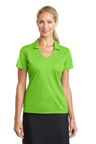 nike ladies dri fit vertical mesh polo action green