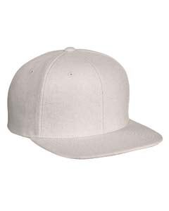Yupoong Adult 6-Panel Melton Wool Structured Flat Visor Classic Snapback Cap 6689 NATURAL