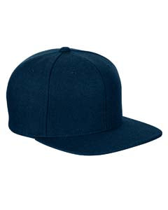 Yupoong Adult 6-Panel Melton Wool Structured Flat Visor Classic Snapback Cap 6689 NAVY