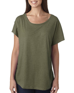 Next Level Ladies Triblend Dolman 6760 Military Green