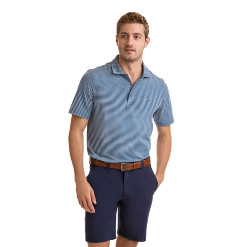 Vineyard Vines Men's Heathered Wilson Stripe Sankaty Performance Polo 1K2202 Moonshine