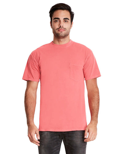 Next Level Adult Inspired Dye Crew With Pocket 7415 Guava