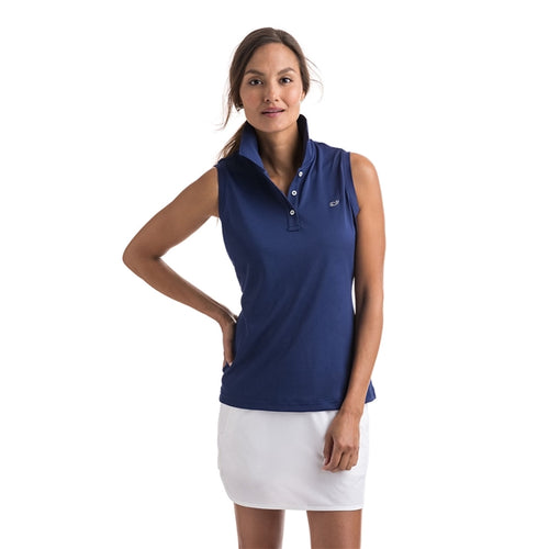 Vineyard Vines Women's Sleeveless Performance Pique Polo 2K1355 Deep Bay