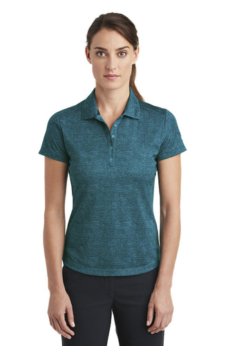 nike ladies dri fit crosshatch polo blustery navy