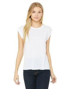 bella + canvas ladies flowy muscle t-shirt with rolled cuff 8804 white