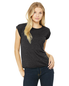 bella + canvas ladies flowy muscle t-shirt with rolled cuff 8804 dark gry heather