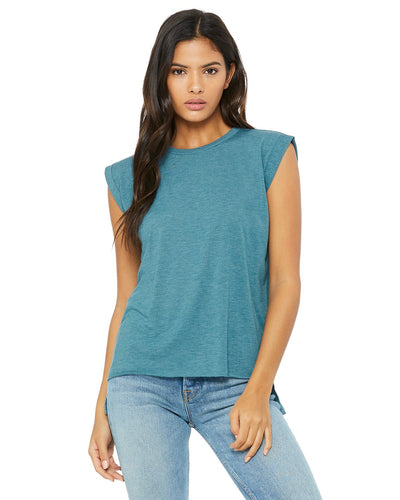 bella + canvas ladies flowy muscle t-shirt with rolled cuff 8804 hthr deep teal
