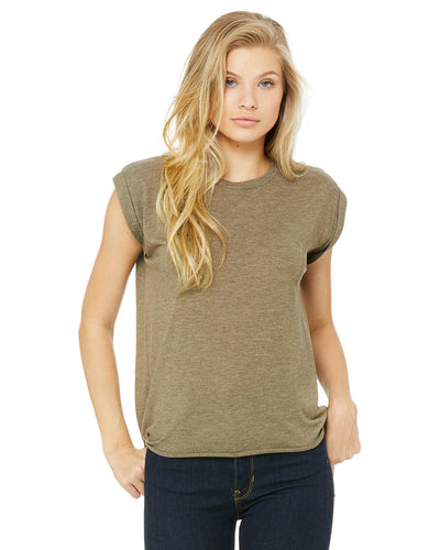bella + canvas ladies flowy muscle t-shirt with rolled cuff 8804 heather olive
