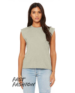 bella + canvas ladies flowy muscle t-shirt with rolled cuff 8804 heather stone