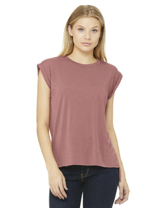 bella + canvas ladies flowy muscle t-shirt with rolled cuff 8804 mauve