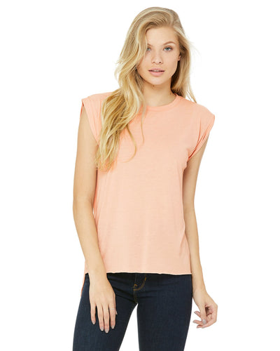 bella + canvas ladies flowy muscle t-shirt with rolled cuff 8804 peach