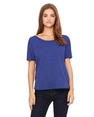 bella + canvas ladies slouchy t-shirt 8816 navy triblend