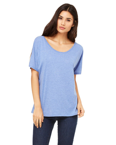 bella + canvas ladies slouchy t-shirt 8816 blue triblend