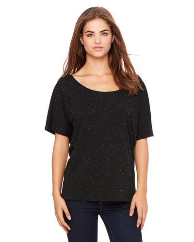 bella + canvas ladies slouchy t-shirt 8816 blk speckled