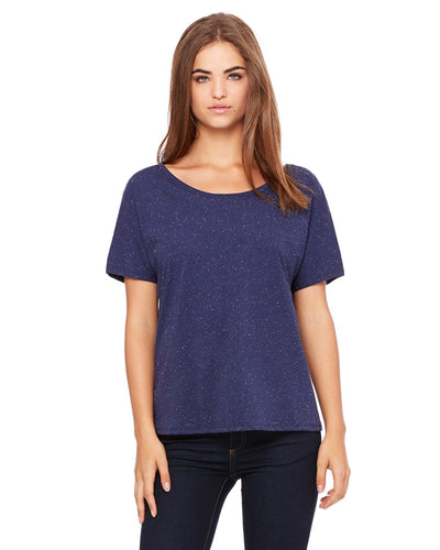 bella + canvas ladies slouchy t-shirt 8816 navy speckled