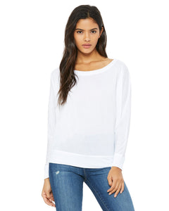 bella + canvas ladies flowy long sleeve off shoulder t-shirt 8850 white