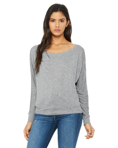 bella + canvas ladies flowy long sleeve off shoulder t-shirt 8850 athletic heather