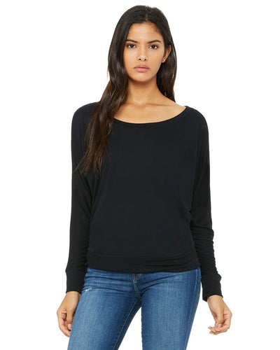 bella + canvas ladies flowy long sleeve off shoulder t-shirt 8850 black