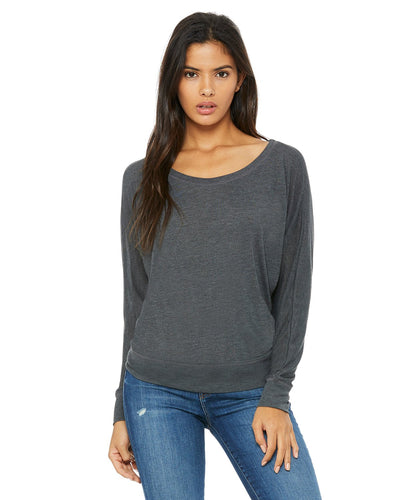 bella + canvas ladies flowy long sleeve off shoulder t-shirt 8850 dk grey heather