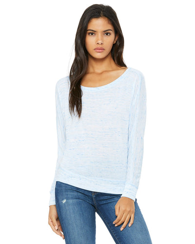 bella + canvas ladies flowy long sleeve off shoulder t-shirt 8850 blue marble