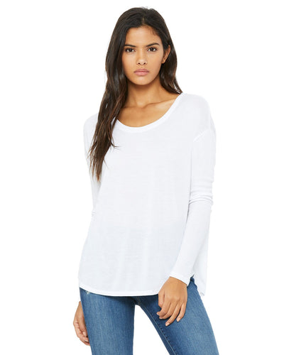 bella + canvas ladies flowy long sleeve t-shirt with 2x1 sleeves 8852 white
