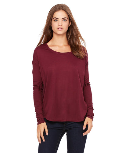 bella + canvas ladies flowy long sleeve t-shirt with 2x1 sleeves 8852 maroon