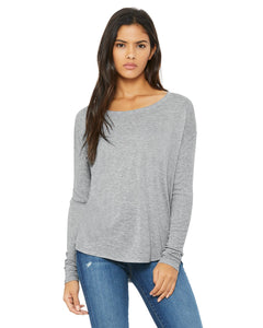 bella + canvas ladies flowy long sleeve t-shirt with 2x1 sleeves 8852 athletic heather
