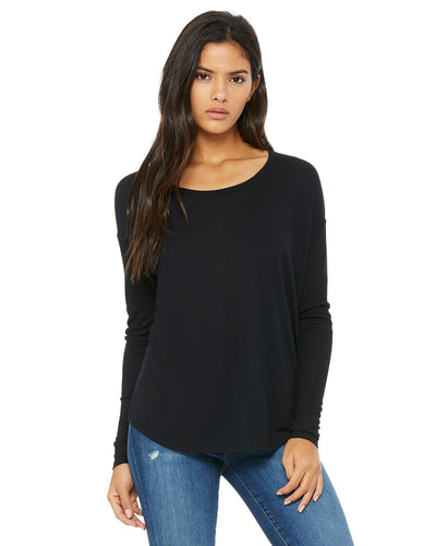 bella + canvas ladies flowy long sleeve t-shirt with 2x1 sleeves 8852 black