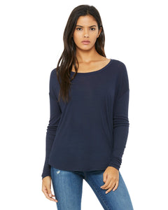 bella + canvas ladies flowy long sleeve t-shirt with 2x1 sleeves 8852 midnight