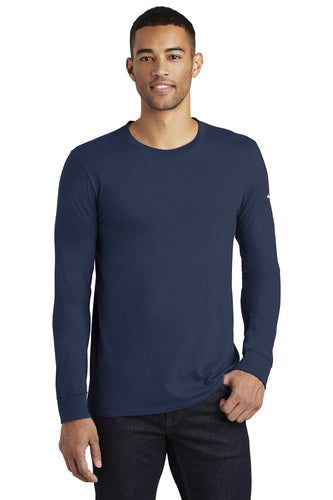 nike core cotton long sleeve tee nkbq5232 college navy