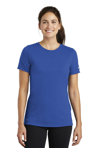 nike ladies drifit cottonpoly scoop neck tee nkbq5234 rush blue