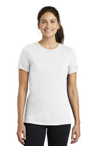 nike ladies drifit cottonpoly scoop neck tee nkbq5234 white