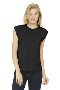 bella + canvas ladies flowy muscle t-shirt with rolled cuff 8804 black