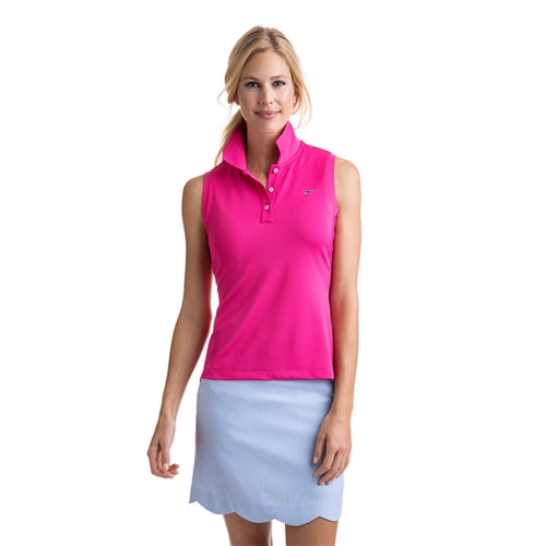 Vineyard Vines Women's Sleeveless Performance Pique Polo 2K1355 Rhododendron
